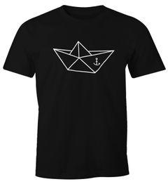 Herren T-Shirt - Schiffchen Origami Anker Seemann Schiff - Comfort Fit MoonWorks®