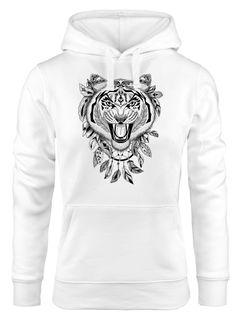 Hoodie Damen Tiger Boho Zentangle Bohamian Atzec Federn Traumfänger Kapuzen-Pullover Neverless®
