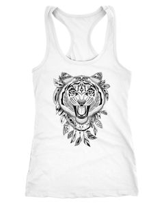 Damen Tank-Top Tiger Boho Zentangle Bohamian Atzec Federn Traumfänger Racerback Slim Fit tailliert Neverless®