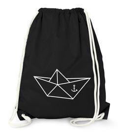 Turnbeutel - Schiffchen Origami Anker Seemann Schiff - Gym Bag Moonworks®