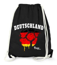 Turnbeutel Deutschland Fußball EM WM Vintage Ball Flagge Germany Flag MoonWorks®