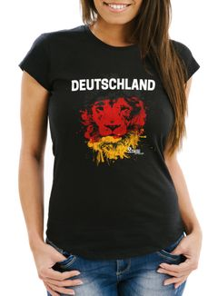 Damen T-Shirt - EM Deutschland WM Germany Löwe Lion Flagge Farben - Comfort Fit MoonWorks®