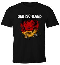 Herren T-Shirt Deutschland Fanshirt Fußball EM WM Löwe Flagge Germany Lion MoonWorks®