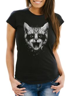 Damen T-Shirt Black Metal Cat Katzenmotiv Rock Heavy Pussy Cat Slim Fit Moonworks®