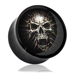 Acryl Plug Totenkopf Skull Mumie Ohr Piercing Saddle Fit Plug Gothic schwarz Double Flared
