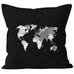 Kissenbezug Weltkarte Wasserfarben Watercolor World Map Kissen-Hülle Deko-Kissen Baumwolle Autiga®