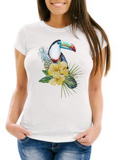 Damen T-Shirt Tucan Ananas Tropical Summer Jungle Paradise Pineapple Slim Fit Neverless®