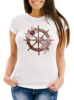 Damen T-Shirt Steuerrad Blumen Wasserfarben Watercolor Slim Fit Neverless®