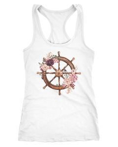 Damen Tank-Top Steuerrad Blumen Wasserfarben Watercolor Racerback Neverless®