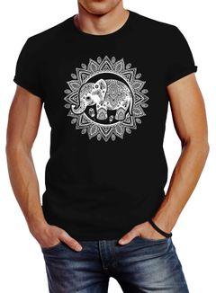 Herren T-Shirt Elefant Mandala Boho Bohamian Ethno Tribal Ornament Slim Fit Neverless®