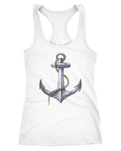 Damen Tank-Top Anker Anchor Watercolor Racerback Slim Fit Neverless®