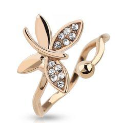 Fingerspitzenring Midi Knöchel Ring Nagelring Obergelenkring Schmetterling gold