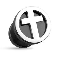 Fake Plug Kreuz Cross Fakeplug Ohr Piercing Cut Out Ohrstecker Chirurgenstahl