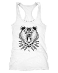 Damen Tank-Top Bär Boho Bear Zentangle Bohemian Atzec Federn Racerback Neverless®