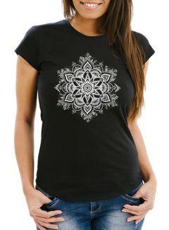 Damen T-Shirt Mandala Ornament Bohemian Boho Ethno Slim Fit Neverless®