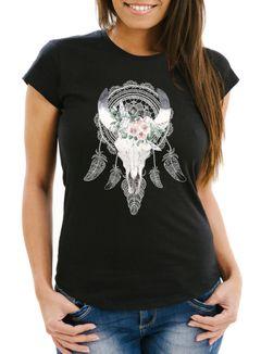 Damen T-Shirt Boho Skull Totenkopf Schädel Traumfänger Dreamcatcher Bohamien Slim Fit Neverless®