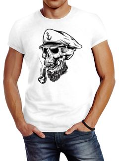 Herren T-Shirt Captain Skull Beard Kapitän Totenkopf Bard Sailor Schädel Slim Fit Neverless®