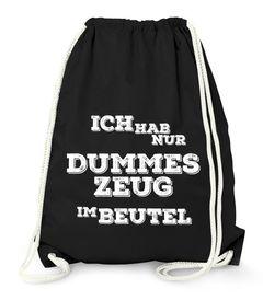 """Turnbeutel mit Spruch """"dummes Zeug im Beutel"""" Jutebeutel Gymbag Moonworks®"""