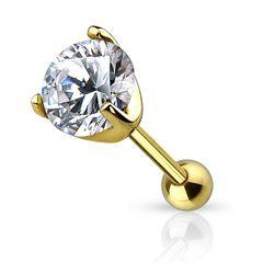 Autiga® Ohr Piercing 14 Karat 585 Echtgold Zirkonia Stecker Tragus Helix Cartilage Barbell Kristalle