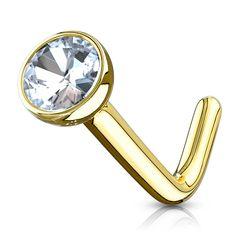 Autiga® Nasen-Piercing 14 Karat 585 Echtgold Stecker Nasenstecker Stift gebogen L-Form Zirkonia Kristall