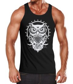 Herren Tank Top Eule Owl Shirt Eulenmotiv Slim Fit Muskelshirt Neverless®