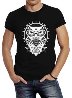 Herren T-Shirt Eule Owl Shirt Eulenmotiv Slim Fit Neverless®