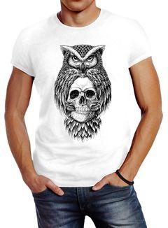 Herren T-Shirt Eule Totenkopf Owl Skull Schädel Slim Fit Neverless®
