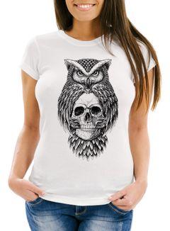 Damen T-Shirt Eule Totenkopf Owl Skull Schädel Slim Fit Neverless®