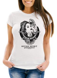 Damen T-Shirt Woman Sailor Captain Pin-Up Kapitän Slim Fit Neverless®