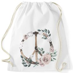 Turnbeutel Peace-Symbol Blumen Flowerpower Hippie Boho Bohemian Autiga®
