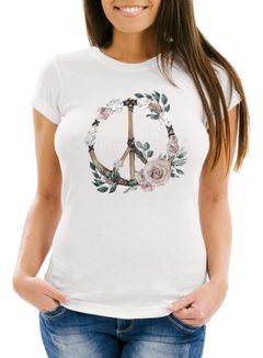 Damen T-Shirt Peace-Symbol Blumen Flowerpower Hippie Boho Bohemian Slim Fit Neverless®