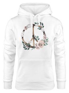 Hoodie Damen Peace-Symbol Blumen Flowerpower Hippie Boho Bohemian Kapuzen-Pullover Neverless®