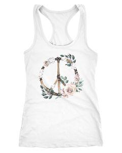 Damen Tank-Top Peace-Symbol Blumen Flowerpower Hippie Boho Bohemian Racerback Neverless®