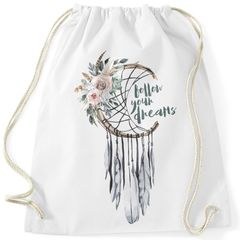 Turnbeutel Traumfänger Dreamcatcher Follow your Dreams Spruch Blumen Federn Spruch Boho Autiga®