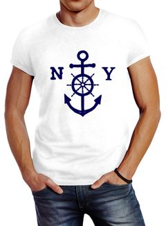 Herren T-Shirt Anker Steuerrad Anchor Steering Wheel Slim Fit Neverless®