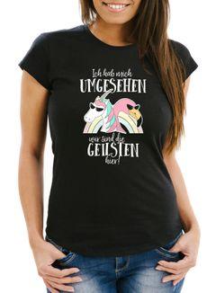 Damen T-Shirt Ich hab mich umgesehen wir sind die geilsten hier Flamingo Einhorn Slim Fit Moonworks®