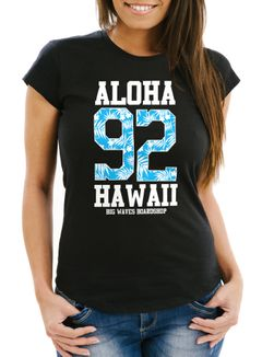 Damen T-Shirt Aloha Hawaii Summer Palm Leafs Slim Fit Neverless®