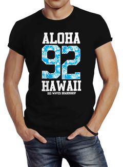 Herren T-Shirt Aloha Hawaii Summer Palm Leafs Slim Fit Neverless®