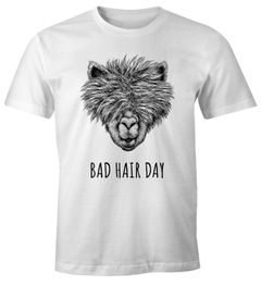 Herren T-Shirt lustig strubbelig haariges Lama Bad hair day Spruch Statement Fun-Shirt Alpaka Moonworks®