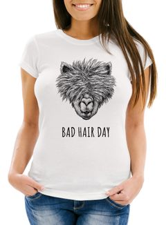 Damen T-Shirt lustig strubbelig haariges Lama Bad hair day Spruch Statement Fun-Shirt Alpaka Slim Fit Moonworks®
