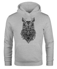 Hoodie Herren Eule Atzekenmuster Boho Bohamian Atzec Owl geometrisch Kapuzen-Pullover Männer Neverless®
