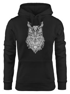 Hoodie Damen Eule Atzekenmuster Boho Bohamian Atzec Owl geometrisch Kapuzen-Pullover Neverless®
