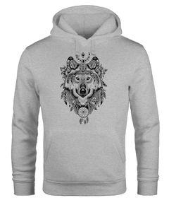 Hoodie Herren Aufdruck Wolf-Motiv Print Boho Bohemian Ethno Style Kapuzen-Pullover Männer Neverless®