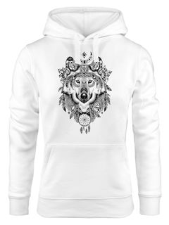 Hoodie Damen Aufdruck Wolf-Motiv Print Boho Bohemian Ethno Kapuzen-Pullover Neverless®