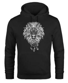 Hoodie Herren Aufdruck Löwe Boho Style Atzekenmuster Traumfänger Ethno-Print Kapuzen-Pullover Männer Neverless®