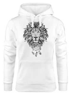 Hoodie Damen Aufdruck Löwe Boho Style Atzekenmuster Traumfänger Ethno-Print Kapuzen-Pullover Neverless®