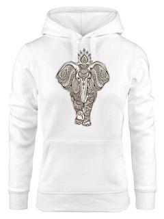 Hoodie Damen Elefant Zentangle Mandala Kapuzen-Pullover Neverless®
