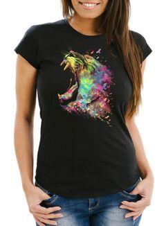 Damen T-Shirt Screaming Lion Natur Farben Bunt Colors Moonworks®