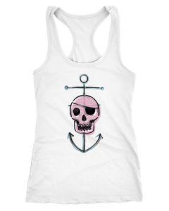 Damen Tanktop Pirate Skull Totenkopf Pirat mit Anker Racerback Moonworks®