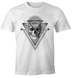 Trendiges Herren T-Shirt Totenkopf Skull Trinagle Kunst Diamond Diamant Moonworks®